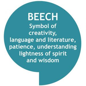 Speech bubble, teal with white text - BEECH Symbol of creativity, language and literature