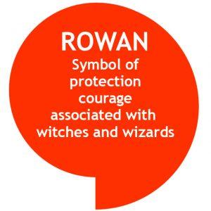 Speech bubble with list of Rowan symbolism
